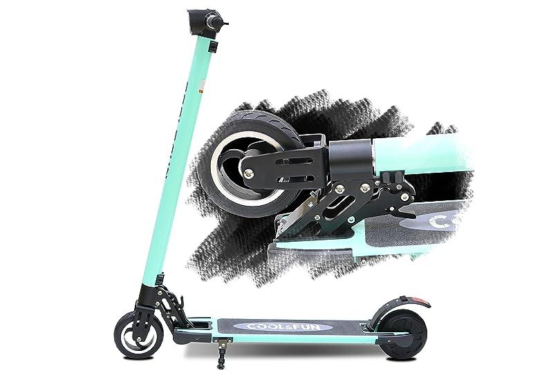 厄介なアーネストシャクルトン持つCool&Fun 電動 キックボード キックスクーター 電動 スケーター カーボン製 LEDライト搭載 最高時速20キロ 折りたたみ 立ち乗り式 大人用 全て3色 (グリン)