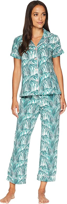 Short Sleeve Classic Cropped Pants Two-Piece Pajama Set