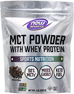 Now Sports Nutrition, MCT Powder with Whey Protein Isolate, 52% MCTs, Chocolate Mocha, 1-Pound