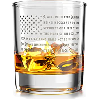Patriotic Amendment American Flag - Old Fashioned Whiskey Rocks Bourbon Glass - 10 oz capacity - Made in the USA