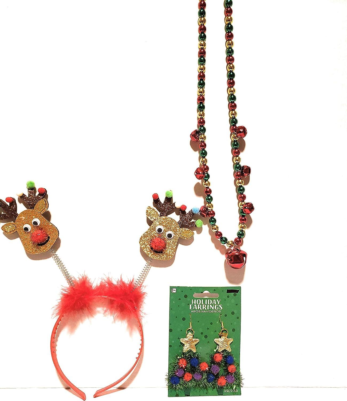 Teens Adults Christmas (Bonus I2F Beads) Headband, Earrings and Necklace Set