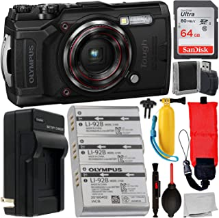 Olympus Tough TG-6 Digital Camera (Black) with Essential Accessory Bundle – Includes: SanDisk Ultra 64GB SDXC Memory Card + 2X Extended Life Replacement Batteries (LI-92B) with Charger + More