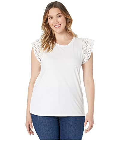 MICHAEL Michael Kors Plus Size Lace Sleeve T-Shirt (White) Women