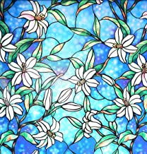 Arthome Stained Decorative Window Glass Privacy Films No Glue Non-Adhesive Self Frosted Static Cling Removable Anti UV for...