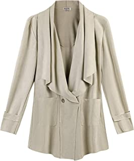 KalyChic Womens Faux Suede Draped Coat Casual Outerwear with Pockets