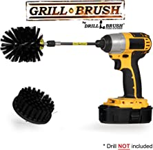 Grill Accessories - Drill Brush Ultra Stiff Scrub Brush Kit with Extension -BBQ Accessories Smoker - Grill Brush - Hard Water, Calcium, Rust, Mineral Deposit Graffiti, Grease and Stain Remover