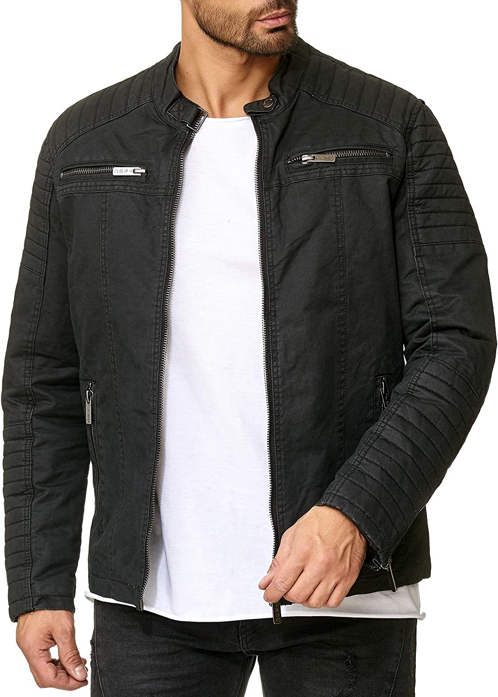 rotbridge Herren Jacke Übergangsjacke Bikerjacke Freizeitjacke Gesteppt B0755HSLQ1  Youzi Produkte