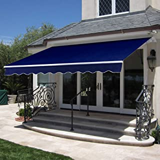 Best Choice Products 98x80in Retractable Patio Sun Shade Awning Cover w/Aluminum Frame, Crank Handle - Navy Blue