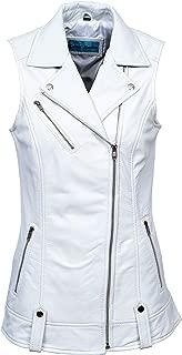 Smart Range 6385 Ladies Brando Waistcoat White Punk Biker Style Motorcycle Leather Jacket