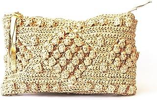 329d48d521 Straw beach bag natural raffia woven clutch purse women top zip beach  wallet gold leather finish