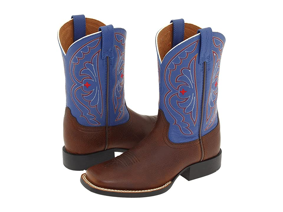 Ariat Kids Quickdraw (Toddler/Little Kid/Big Kid) (Brown Oiled Rowdy/Royal) Cowboy Boots