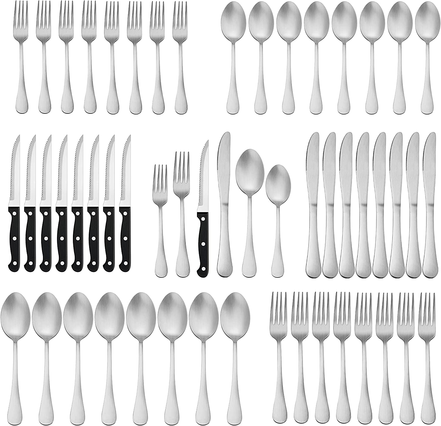 Herogo 72-Piece Selling Matte Silverware Set Steak Stainles Limited time trial price Knives with