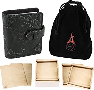 Forged Dice Co Spellbook of Incantations (Dragon Edition) Spellbook Card Holder & Deck of Dry Erase Cards with Velvet Stor...