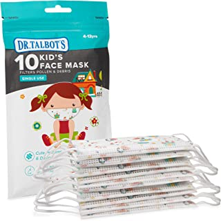 Dr. Talbot's Disposable Kid's Face Mask for Health Protection by Nuby, 10 Pack, Girl, Prints May Vary