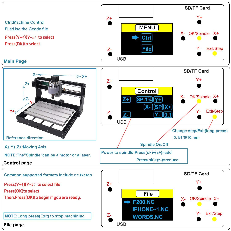 Actualice La CNC 3018 Pro GRBL Control DIY Mini CNC Machine, Mcwdoit Wood Router Engraver Con Controlador Fuera De Línea + 5mm ER11 PCB + 20PCS 3.175MM Router CNC ...