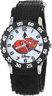 Disney Kids' W001007 Time Teacher Cars Stainless Steel Watch With Black Nylon Band
