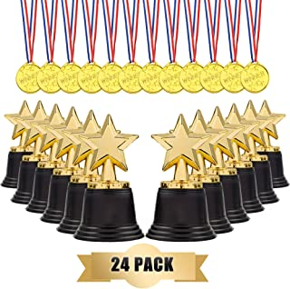 LEFUBABY 24 Sets Children's Gold Plastic Award Medals Trophy Set- 12 PCS Trophies & 12 PCS Medals for Kids and Adults Reward Prizes for Sports Events and Parties Celebration in Office School Favors