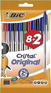 BIC Cristal Original Ballpoint Pens Medium Point (1.0 mm) - Assorted Colours, Pack of 8+2