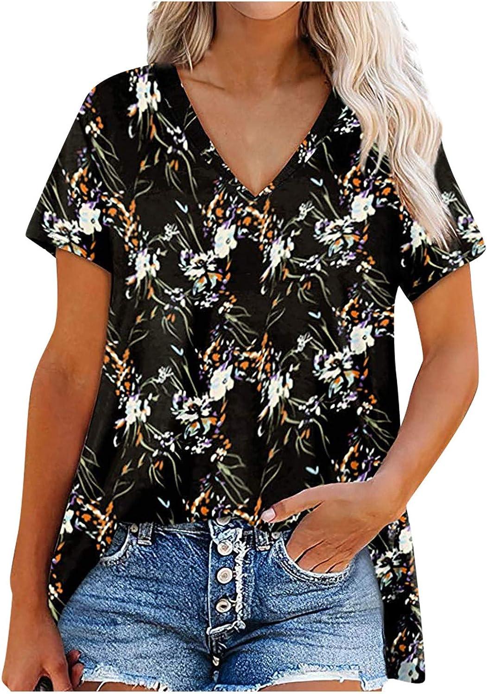 Tianwen Women's Summer Loose Short Sleeve T-Shirt Print Flowy Hiking Vest Fashion Casual V-Neck Tank Tops