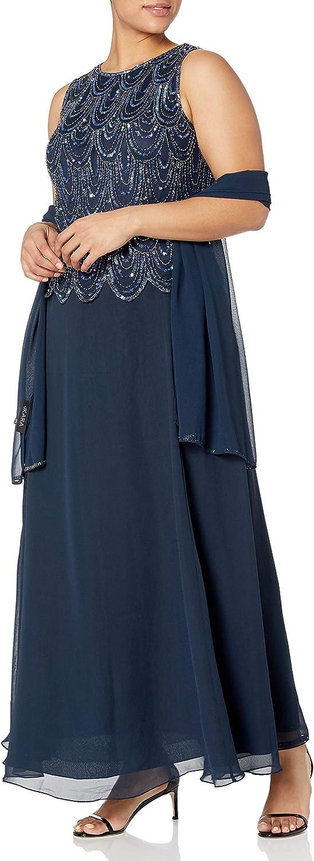 J Kara Women's Sleeveless Beaded Pop Over Dress with Scarf