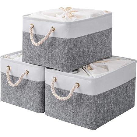 Yawinhe Lot de 3 Boîtes de Rangement Pliables, 42 x 32 x 26 cm, Panier, Coffre, Cubes en Tissu, Organisateur de vêtements, Bacs à Jouets, avec cordon de serrage et 2 poignées, Blanc/Gris, SNK003WGL