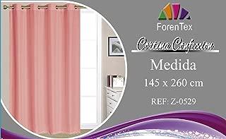 ForenTex - Cortina - Visillo, (Z-0529), 145 x 260 cm, semi translucida, Salmón, confeccionado muy elegante, máxima calidad en la confección y muy duradero. 1-4 cortinas paga solo un envío, descuento equivalente al finalizar la compra.