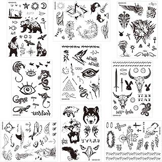 Konsait 9 Hojas Gran Negro dragón León Águila lobo flor Tatuaje Temporal Hombre Adultos mujer Falso Tatuajes Temporales Realistas Tattoos