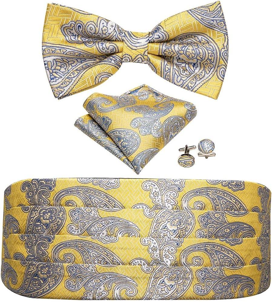 NJBYX Mens Cummerbund Gold Bow Ties BowsYellow Cummerbund Adjustable Waist Belt for Wedding Party Business (Color : A, Size : One size)