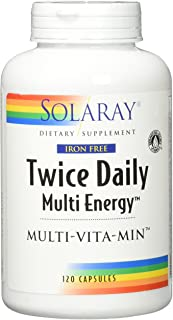 Solaray Multi Energy Iron Free Two Daily Capsules, 120 Count