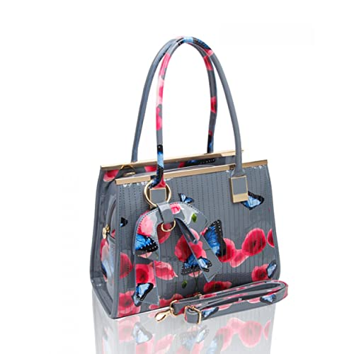 2dc5774e00e7 Womens High Quality PU Leather Poppies Flower Butterfly Handbags Shoulder  Tote Bag Or Matching Purse 511