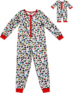 Girls' Apparel Snug Fit Knit Onesie Sleepwear and Matching Doll Outfit