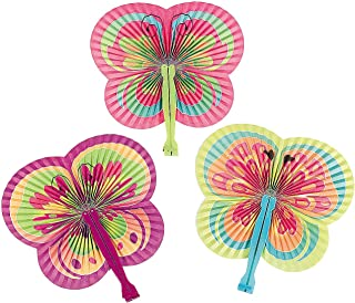 Fun Express - Butterfly Shaped Folding Fans for Party - Party Supplies - Favors - Fans - Party - 12 Pieces