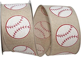 Reliant Ribbon 93226W-750-40F Baseball Linen Sparkle Wired Edge Ribbon, 2-1/2 Inch X 10 Yards, Natural