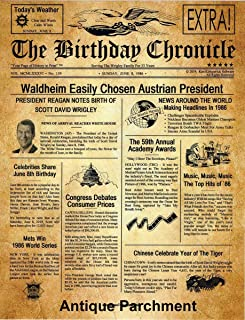 11inch x 14 inch The BIRTHDAY CHRONICLE Newspaper of the MONTH/YEAR You Were Born? 01/01/1900 TO 12/31/2016 THICK Card-Stock Paper OR Premium Luster Photo Paper, EIGHT Choice Art Backgrounds