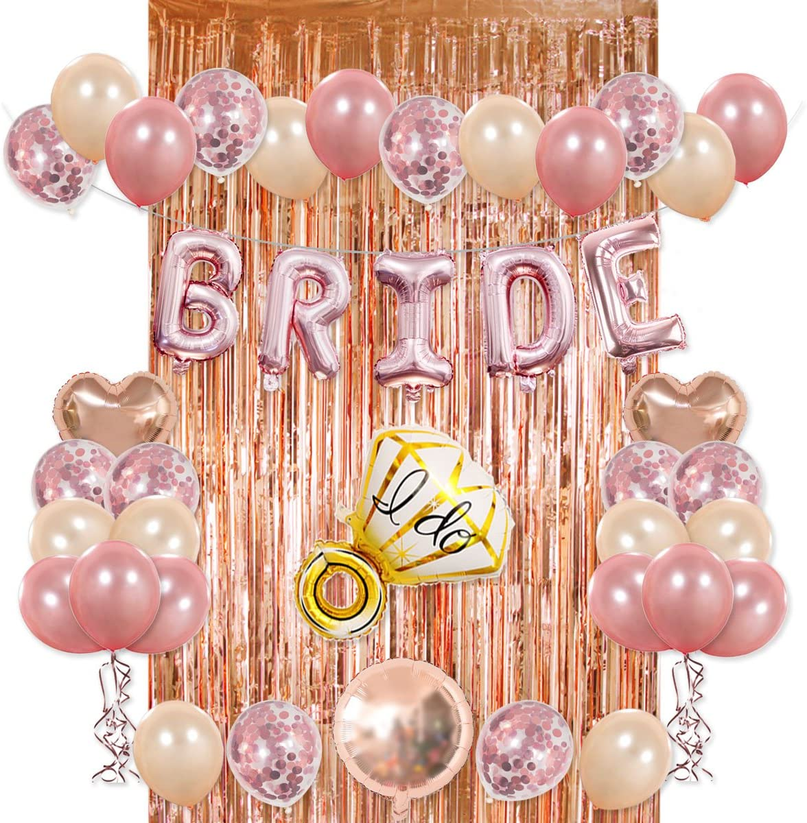 Hello Birthday Party BRIDE Rose Gold Balloons 34 Letter Ballloons Garland Balloons Wedding Floating Helium Air Bride To Be Bridal