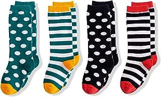 4 Pack Baby Knee High Tube Socks Knit Stripe Cotton Long Stocking for Infants/Toddler/Kids/Little/Big Girls Boys 1-8T
