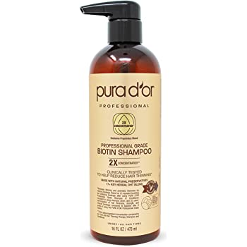 PURA D'OR Professional Grade Shampoo Anti-Hair Thinning Biotin Shampoo with 2X Concentrated Actives & Natural Ingredients For Maximum Results, Clinically Tested, No Sulfates, Men & Women, 16 Fl Oz