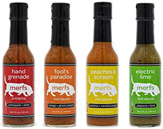 Merfs Condiments Hot Sauce (Merfs Condiments Variety Pack, 4 pack) Electric Lime, Peaches and Scream, Fool's Paradise, Hand Grenade Sriracha