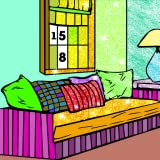 House Interior Paint by Number - Grownups Paint + Glitter + Crayon Coloring Pages