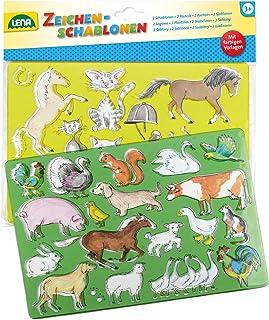 LENA 65767 hästar/katter och bondgårdsdjur, set om 2, ca 26 x 19 cm ritstenciler, flerfärgad