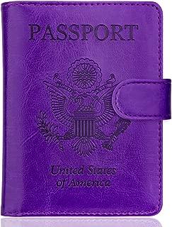 Passport Holder Cover Case RFID Passport Travel Wallet, Purple