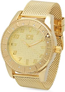 Gold Plated Ice Master Gold Dial Watch with CZ Bezel & Mesh Band