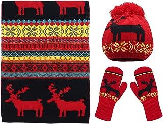 Bienvenu Women Scarf & Glove Set, Knitted Snowflake Deer Detail & Matching Cap