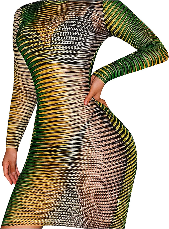 Hemlock Women See Through Dress Colorful Sexy Mesh Sheer Dress Long Sleeeve Bodycon Dress Sexy Party Night Club Dress