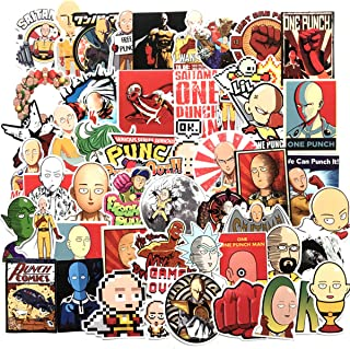 50PCS ONE Punch-Man Vinyl Decals, Clear Stickers No-Duplicate Waterproof Vinyl Stickers for Skateboard Luggage Helmet Guitar (ONE Punch-Man)