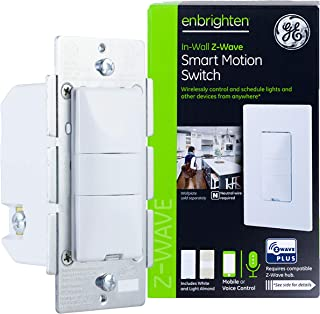 GE Enbrighten Z-Wave Plus Smart Motion Light Switch، روشن / خاموش، سنسور Vacancy / Occupancy، Includes White and Lt. Almond، Zwave Hub Required، Works with SmartThings، Wink، and Alexa، 26931، White & Light