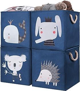 Boîtes de rangement [Pack de 4] 28 ×28 Boîtes de rangement pliantes - Paniers pour étagère. Parfait pour le kallax, les vê...