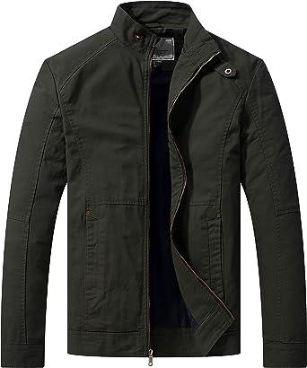 WenVen Men's Casual Cotton Jacket Outdoor Lightweight Windbreaker Jacket Stand Collar Jacket Military Jacket