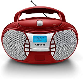 Karcher RR 5025 R tragbares CD Radio (CD Player, Boomboxen, UKW Radio, Batterie/Netzbetrieb, AUX In) rot