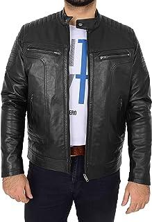 Mens Leather Biker Style Jacket Casual Cafe Racer Style Eddie Black